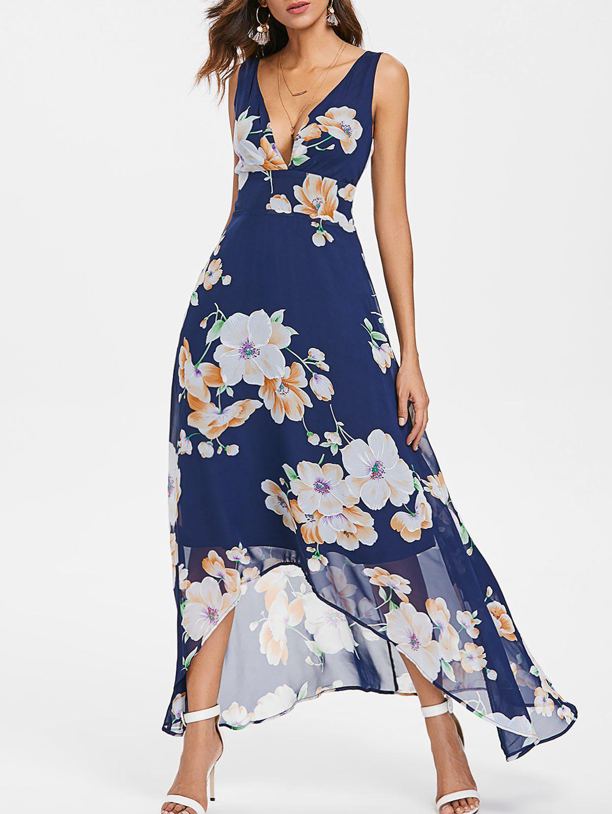 Shop Floral Print Plunging Neckline Maxi Chiffon Dress
