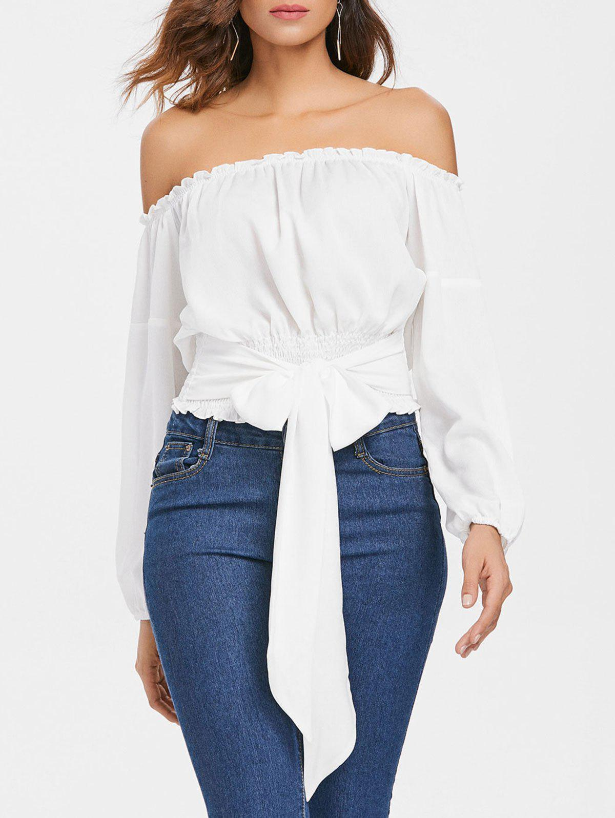 Affordable Long Sleeve Off The Shoulder Blouse
