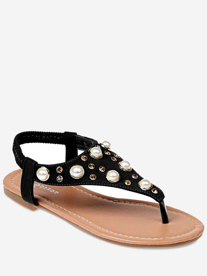 fba3d6bba178b4 2019 Clip Toe Faux Pearl Inlay Sandals