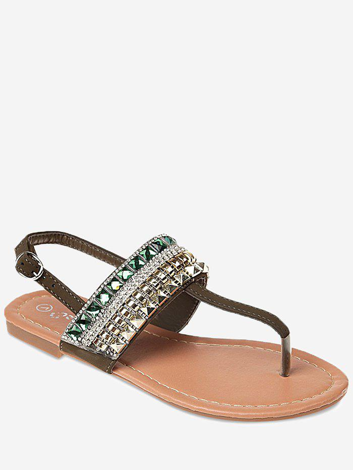 Affordable Faux Crystal Buckle Strap Beach Sandals
