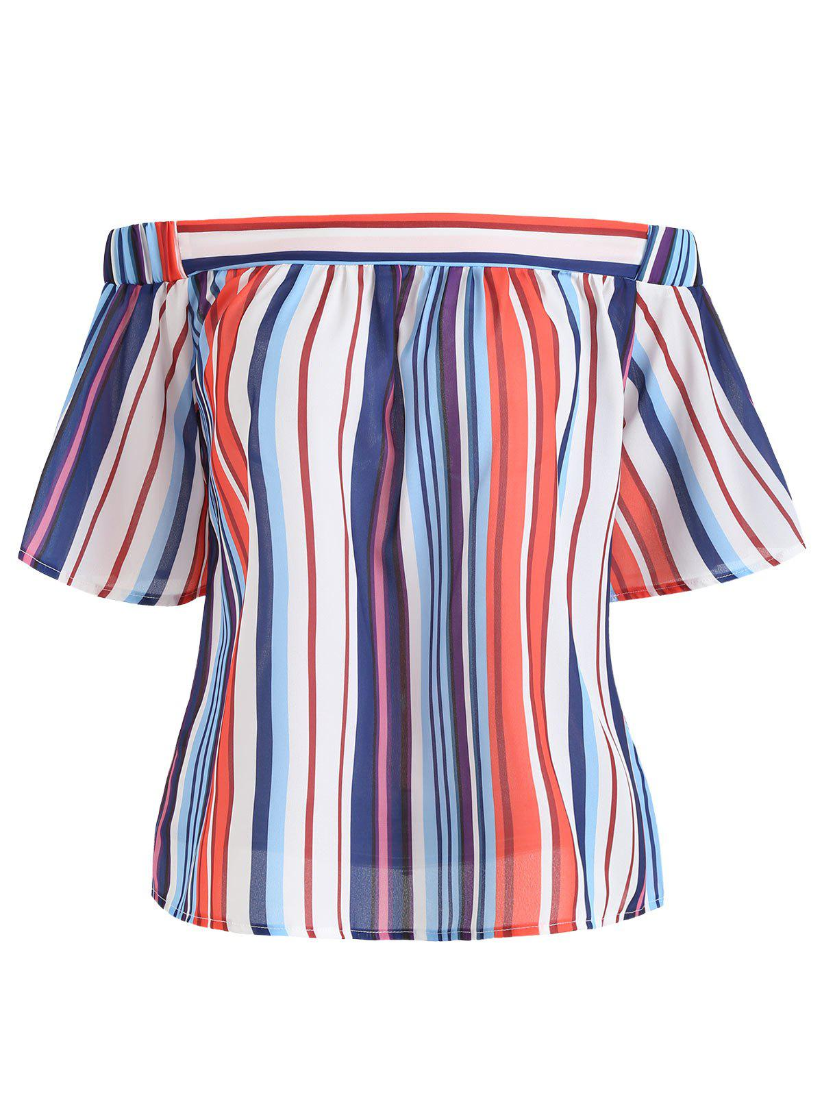 Affordable Off Shoulder Stripe Blouse