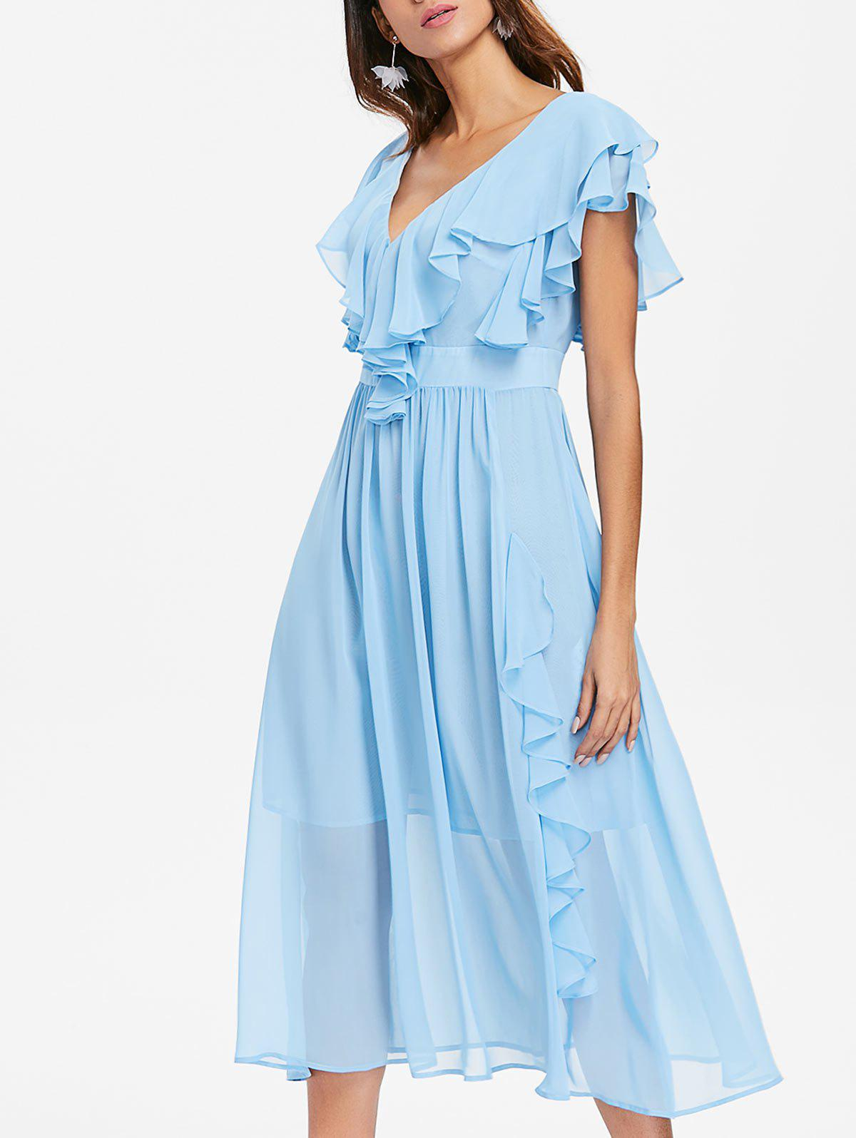Shops Plunging Neckline Backless Ruffle Midi Prom Dress
