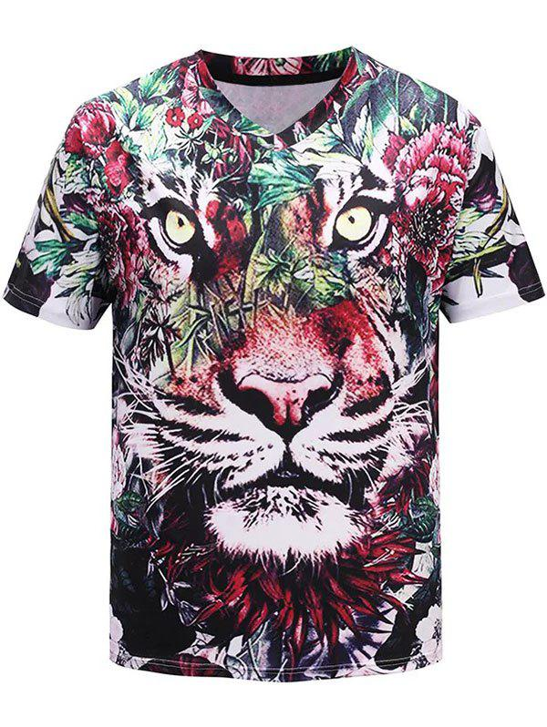 Outfits 3D Tiger Flowers Printed V-Neck T-shirt