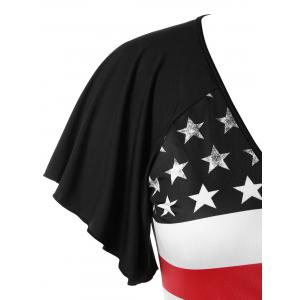 Plus Size Patriotic American Flag Wrap T-shirt -