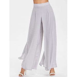 Chiffon Overlay Wide Leg Trousers -
