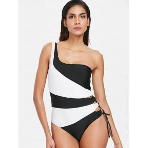 Color Block One Piece One Shoulder Swimwear -