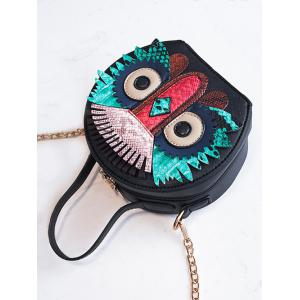 PU Leather Owl Round Pattern Crossbody Bag -