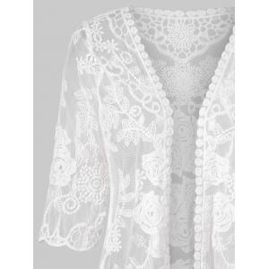 Three Quarter Sleeve Lace Cover Up Top -