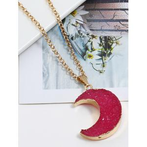 Artificial Crystal Moon Decorative Sweet Pendant Necklace -