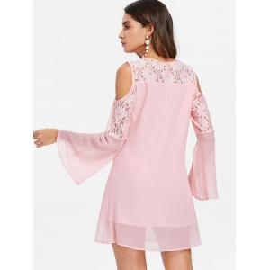 Bell Sleeve Lace Panel Shift Dress -