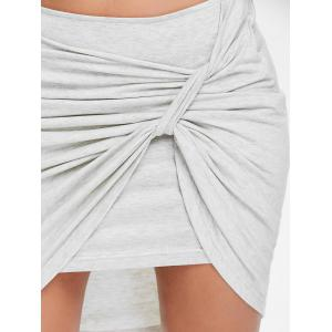 Ruched Front High Low Mini Skirt -