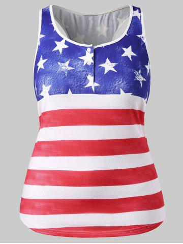Fashion Plus Size American Flag Patriotic Tank Top