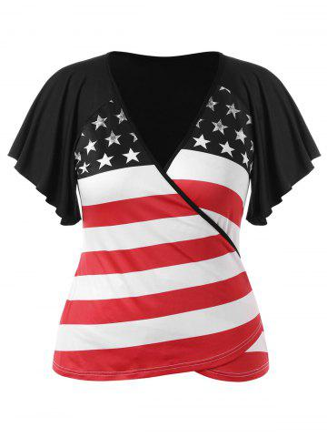 Trendy Plus Size Patriotic American Flag Wrap T-shirt