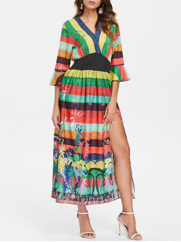 Best Bohemian Stripe Floral High Split Dress