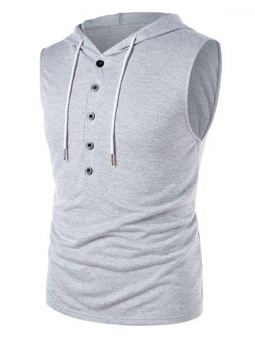 Cheap Sleeveless Solid Color Drawstring Hoodie