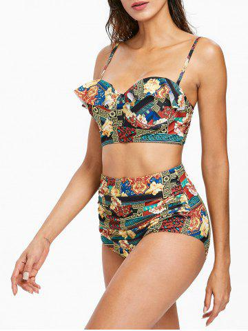 Discount Flower Ruffle High Waisted Bikini Set
