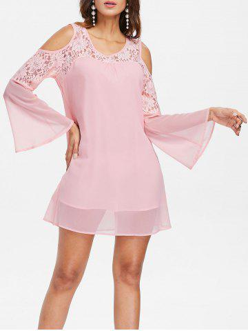 Latest Bell Sleeve Lace Panel Shift Dress
