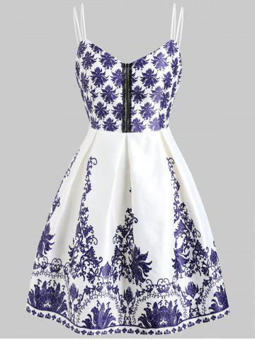 New Double Straps Print Vintage Dress