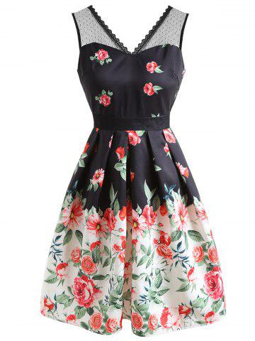 Latest Floral Print Sleeveless Flare Dress