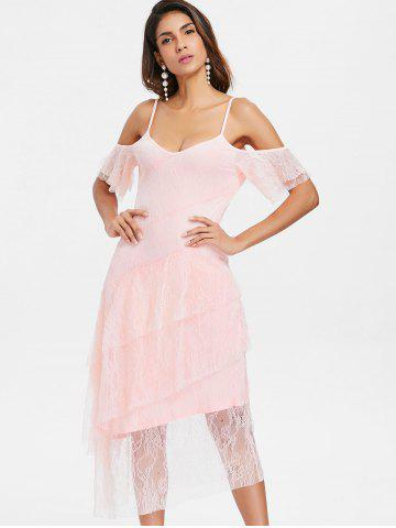 Cut Out Shoulder Midi Lace Dress