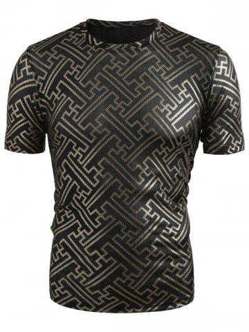 Crew Neck Golden Jacquard Weave T-shirt