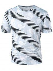 Paisley and Stripe Print Casual T-shirt -