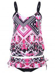 Mixed Print Drawstring Tankini Set -