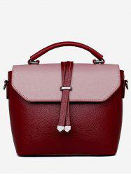Vintage Color Block PU Leather Crossbody Bag -