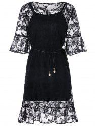 Three Quarter Sleeve Belted Lace Dress -