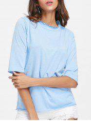 Half Sleeve Ruffled Neck T-shirt -