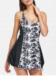 Monochrome Panel Drawstring One Piece Swim Dress -