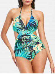 Tropical Halter Monokini Swimsuit -