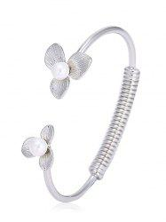 Faux Pearl Floral Screw Stripe Cuff Bracelet -