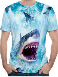Ferocious Shark Print Short Sleeve T-shirt -