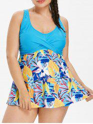 Plus Size Floral Twist Tankini Set -