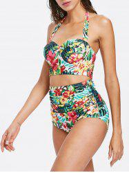 Tropical Flower High Waisted Bikini Set -