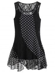Polka Dot Sleeveless Lace Blouse -