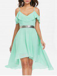 Shoulder Cut Sequined Waist Asymmetrical Chiffon Dress -