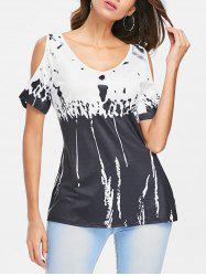 Printed Cold Shoulder T-shirt -