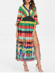 Bohemian Stripe Floral High Split Dress -