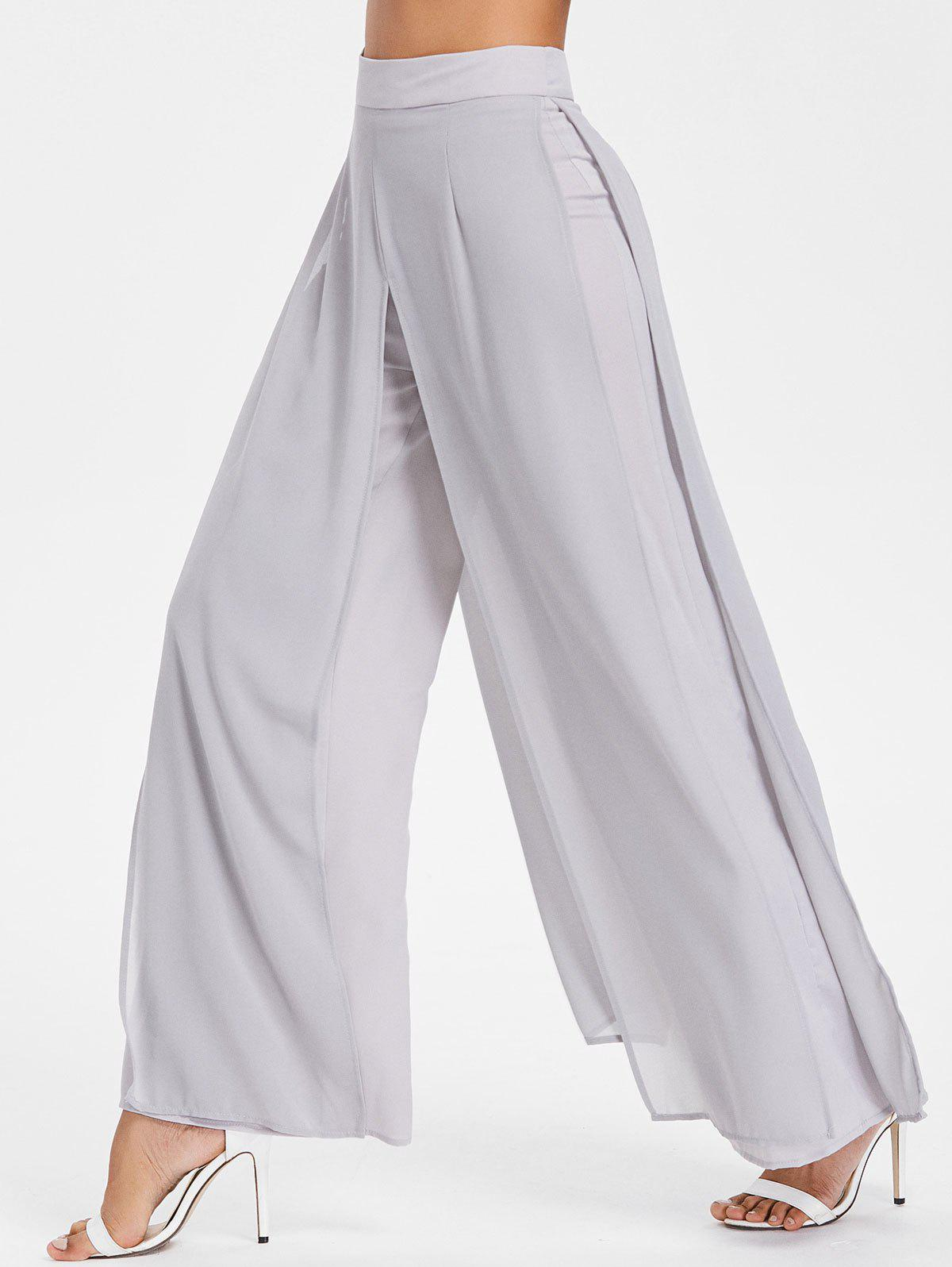 ace7ed2584b 53% OFF   2019 Chiffon Overlay Wide Leg Trousers