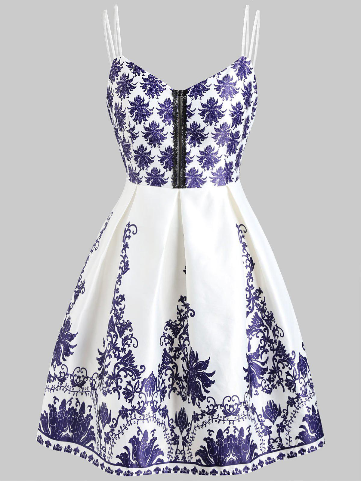 Trendy Double Straps Print Vintage Dress