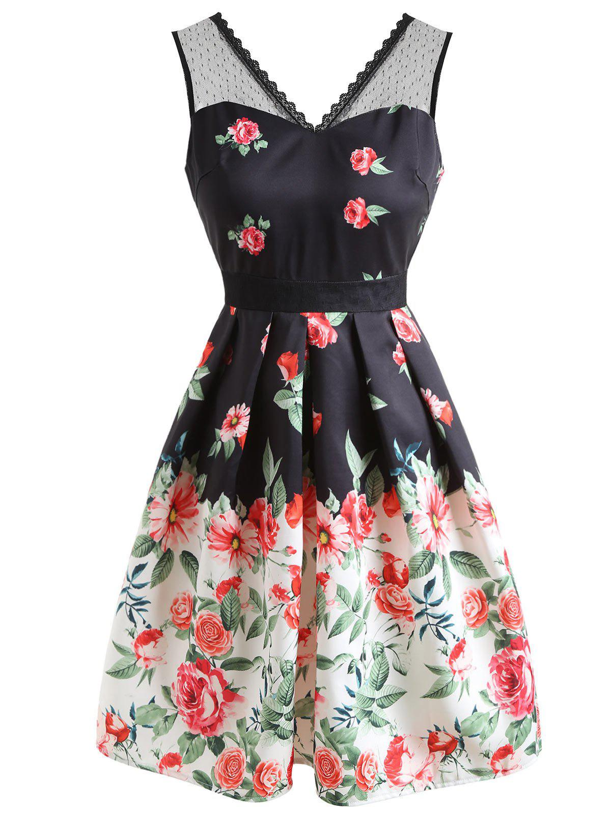 Unique Floral Print Sleeveless Flare Dress