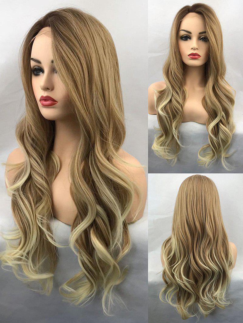 Outfits Long Side Bang Wavy Colormix Lace Front Synthetic Wig