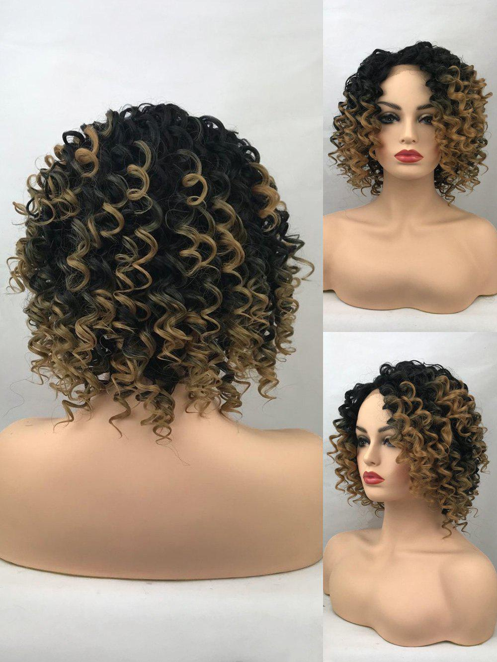 Latest Short Side Bang Colormix Curly Synthetic Lace Front Wig