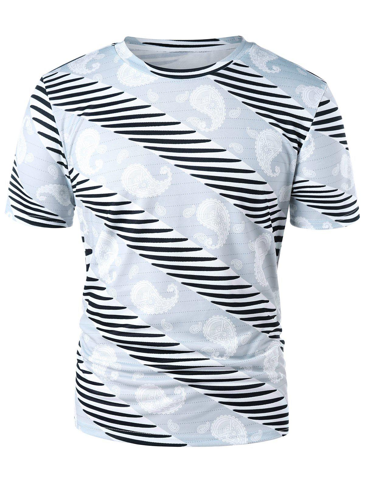Chic Paisley and Stripe Print Casual T-shirt