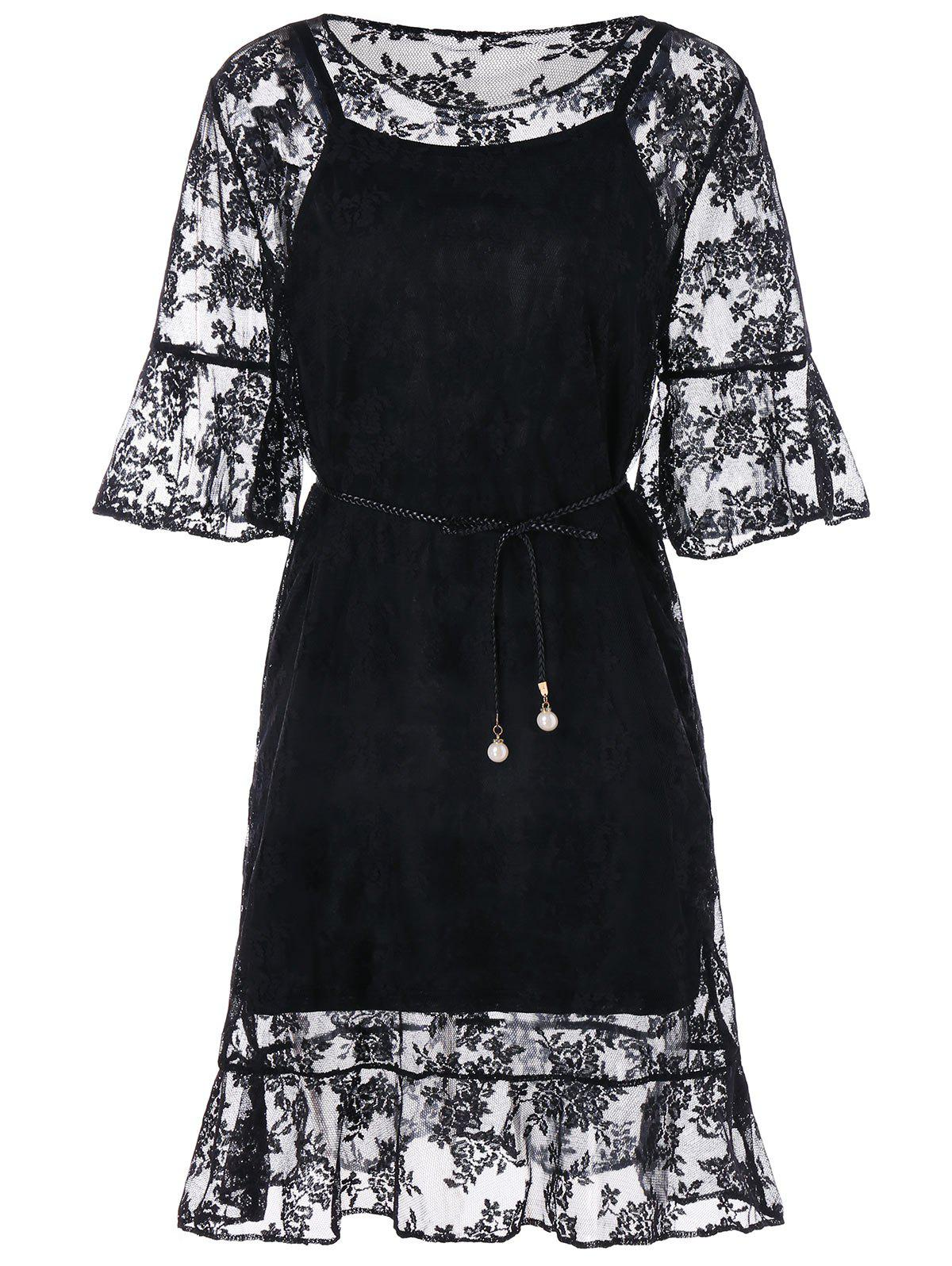 Discount Three Quarter Sleeve Belted Lace Dress
