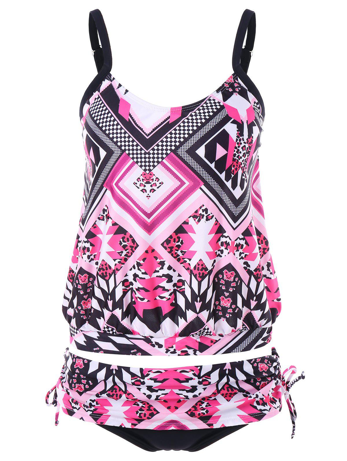 Discount Mixed Print Drawstring Tankini Set
