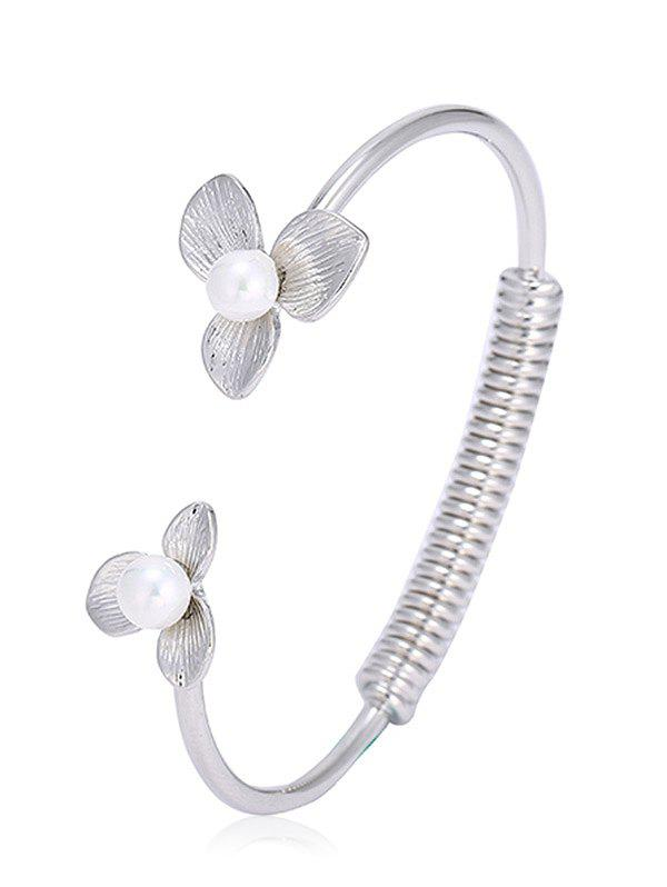 Hot Faux Pearl Floral Screw Stripe Cuff Bracelet