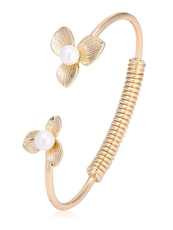 Buy Faux Pearl Floral Screw Stripe Cuff Bracelet